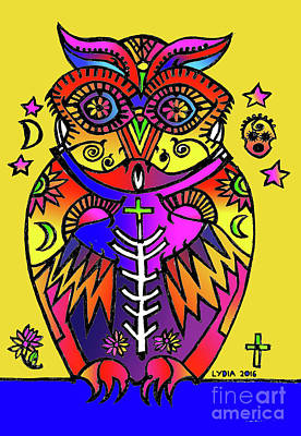 Drawing - The Magic Of The Owl's Spirit by Lydia L Kramer