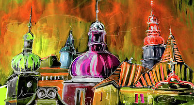 Painting - The Magical Rooftops Of Prague 01 by Miki De Goodaboom