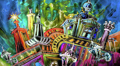 Painting - The Magical Rooftops Of Prague 02 by Miki De Goodaboom