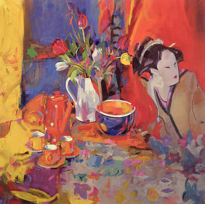 Japanese Geisha Girls Painting - The Magical Table by Peter Graham
