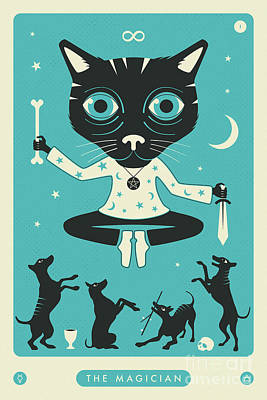 Tarot Wall Art - Digital Art - The Magician Tarot Card Cat by Jazzberry Blue