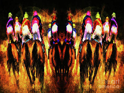 Digital Art - The Magnificent Riders Abstract by Tina LeCour