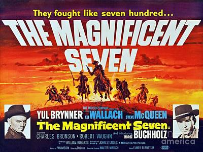 Steve Mcqueen Art Painting - The Magnificent Seven Old Vintage Poster by Pd