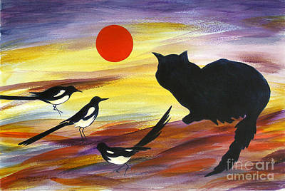 Graphics Painting - The Magpies Tell Meow Of Red by Susan Greenwood Lindsay