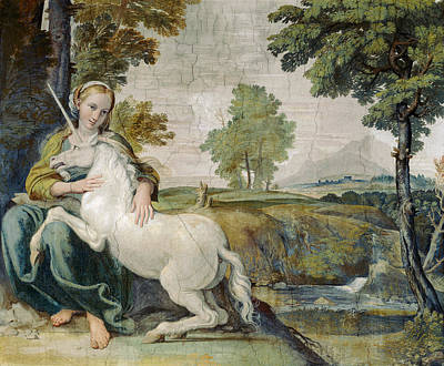 Unicorn Painting -  The Maiden And The Unicorn By Domenichino by Domenichino
