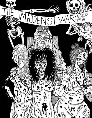 Slavic Drawing - The Maiden's War A Czech Myth by Stuart Shadwell