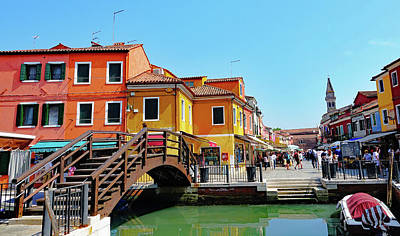 The Main Street On The Island Of Burano, Italy Art Print