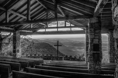 Photograph - The Majestic View B W Pretty Place Chapel Great Smoky Mountains Art by Reid Callaway