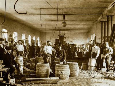 Wine Barrel Photograph - The Making Of Beer Barrels Circa 1880 by Jon Neidert