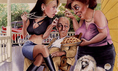 Dog Caricature Painting - The Man And His Sweethearts by Denny Bond