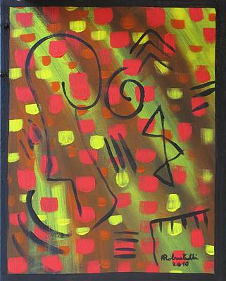 Colourfull Painting - The Man And The Intelligence  by Alfonso Robustelli