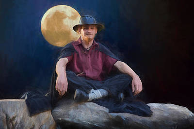 Digital Art - The Man And The Moon by John Haldane