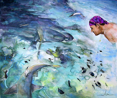Shark Painting - The Man And The Sharks by Miki De Goodaboom