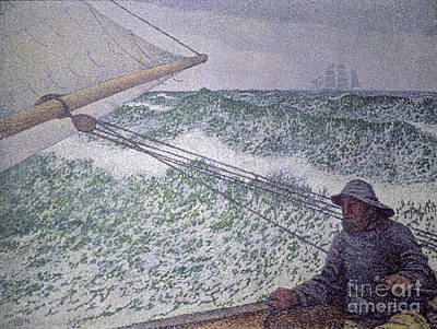 Pointillist Painting - The Man At The Tiller by Theo van Rysselberghe