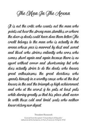 Photograph - The Man In The Arena By Theodore Roosevelt by Andrea Anderegg