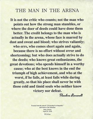 The Man In The Arena By Theodore Roosevelt On Parchment Original by Desiderata Gallery