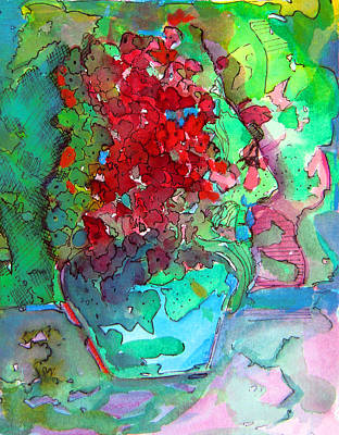 The Man In The Flower Pot Art Print by Mindy Newman