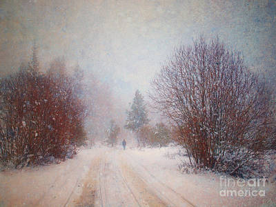 The Man In The Snowstorm Art Print by Tara Turner