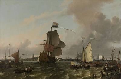 Painting - The Man Of War Brielle On The River Maas Off Rotterdam  Ludolf Bakhuysen  1689 by R Muirhead Art