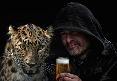 Beer Royalty-Free and Rights-Managed Images - The Man, The Cat And A Beer by Joachim G Pinkawa