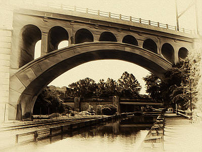 The Manayunk Bridge And Canal Art Print by Bill Cannon