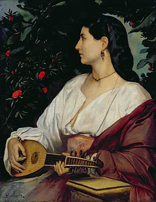 Long Necklace Painting - The Mandolin Player by Anselm Feuerbach