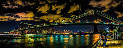 Photograph - The  Manhattan Bridge At Night by Nick Zelinsky