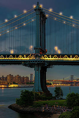 Photograph - The Manhattan Bridge During Blue Hour by Chris Lord