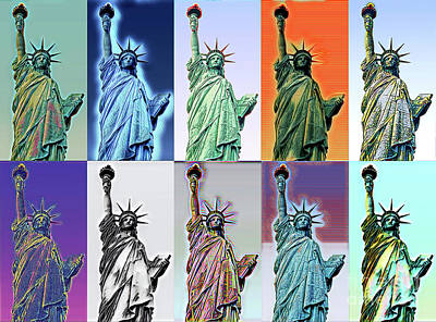 Digital Art - The Many Colors Of Freedom As Liberty by Wernher Krutein