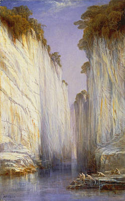 Painting - The Marble Rocks. Nerbudda Jubbolpore by Edward Lear