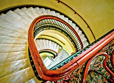 Photograph - The Marble Staircase In The Arlington Hotel by Linda Unger