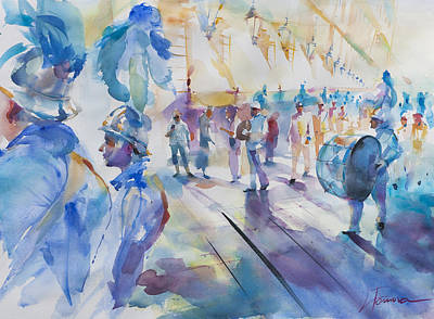 Corfu Painting - The Marching Band by Lyudmila Tomova