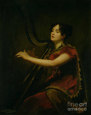 The Marchioness Of Northampton Playing A Harp Art Print