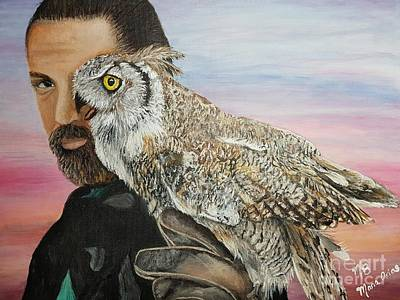 Painting - The Owl Man From England by Maria Arias
