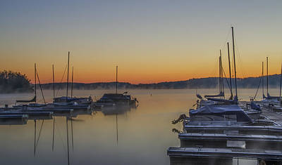 Sunrise Photograph - The Marina At Nockamixon State Park by Bill Cannon