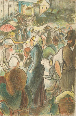 Relief - The Market At Gisors - Rue Cappeville by Camille Pissarro