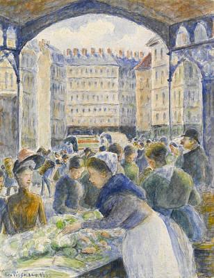 The Market Art Print by Camille Pissarro