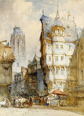 William Callow Drawing - The Market. Frankfurt by William Callow