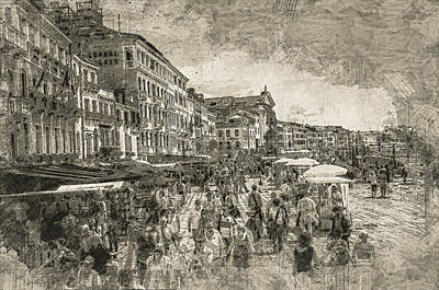 Digital Art - The Market Place by Georgiana Romanovna