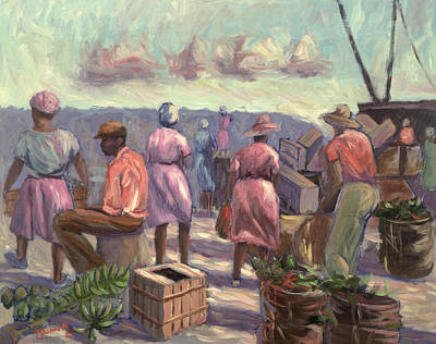 Basket Painting - The Marketplace by Carlton Murrell