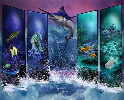 The Marlin And His Sea Friends  Art Print by Ali Oppy