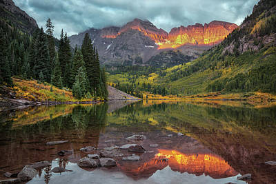 Photograph - The Maroon Bells At Dawn by Expressive Landscapes Fine Art Photography by Thom