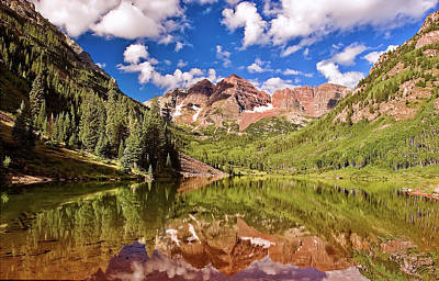 Photograph - The Maroon Bells by Endre Balogh