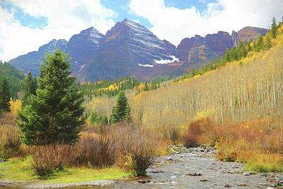 The Maroon Bells Reimagined 3 Art Print