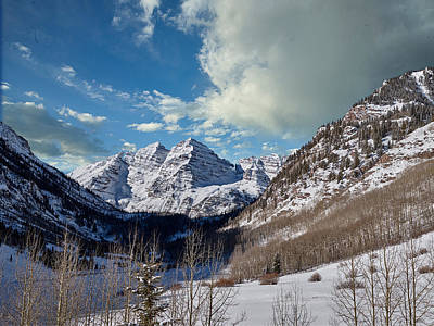 Photograph - The Maroon Bells Twin Peaks Just Outside Aspen by Carol M Highsmith