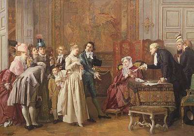 Inviting Painting - The Marriage  by Jules Adolphe Goupil