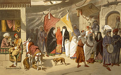 African Women Drawing - The Marriage Of An Arab In Cairo by French School