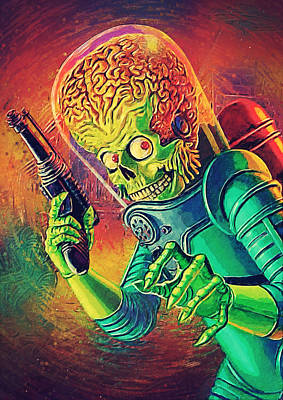Jack Nicholson Digital Art - The Martian - Mars Attacks by Taylan Apukovska