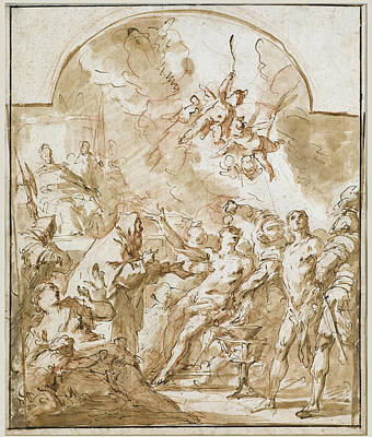 Drawing - The Martyrdom Of Saints Felix And Fortunatus by Gaspare Diziani