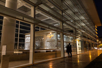 Photograph - The Marvels Of Rome - Admiring Ara Pacis At Night by Georgia Mizuleva